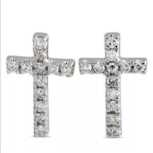 $1100 14K White Gold Diamond Cross Earrings